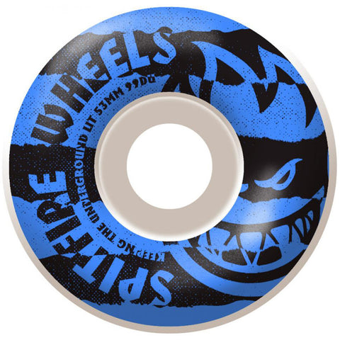 Spitfire Wheels Shredded 53mm 99a - White/Blue (Set of 4)