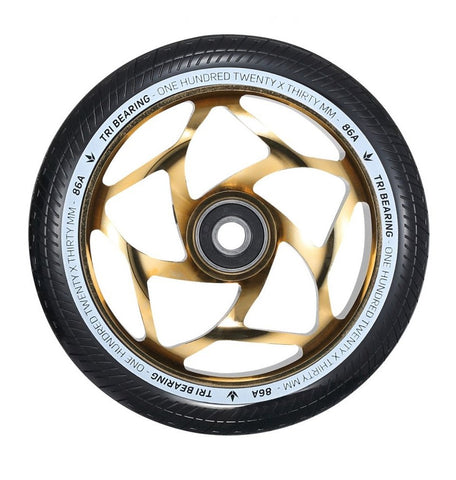 Envy Tri Bearing Scooter Wheels 120mm x 30mm - Gold/Black (Pair)