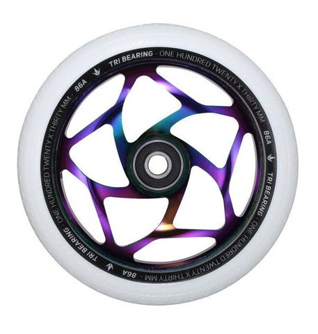 Envy Tri Bearing Scooter Wheels 120mm x 30mm - Oil Slick/White (Pair)