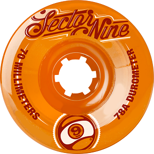Sector 9 Wheels Top Shelf 70mm 78a orange center (set)