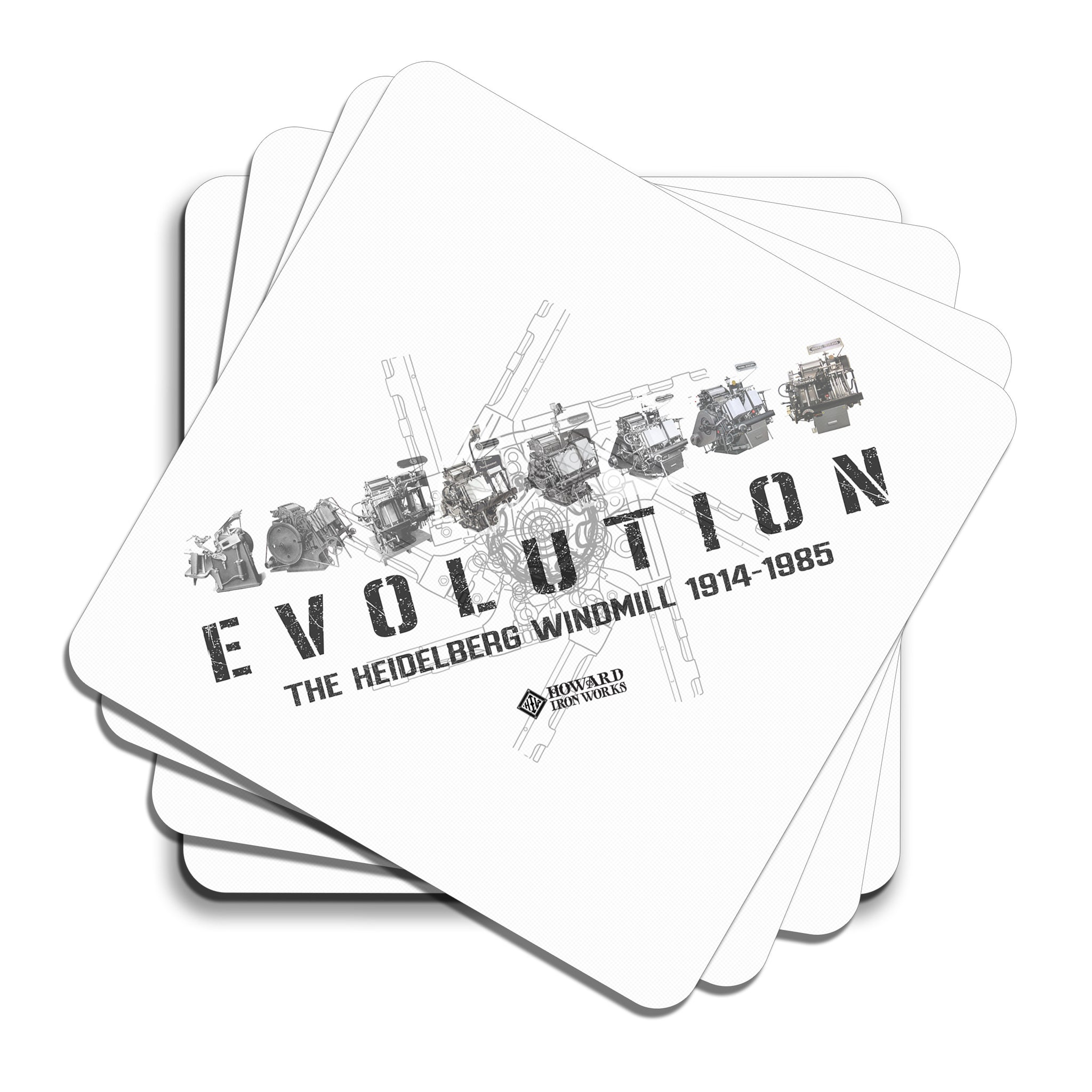 Howard Iron Works Printing Museum, Set of 4 Coasters, Cork Backing, Evolution of Heidelberg T Platen, White