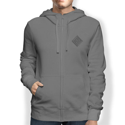 Men's Hoodie, Full Zip, Grey - from Howard Iron Works Printing Museum