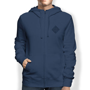 Men's Hoodie, Full Zip, Navy - from Howard Iron Works Printing Museum
