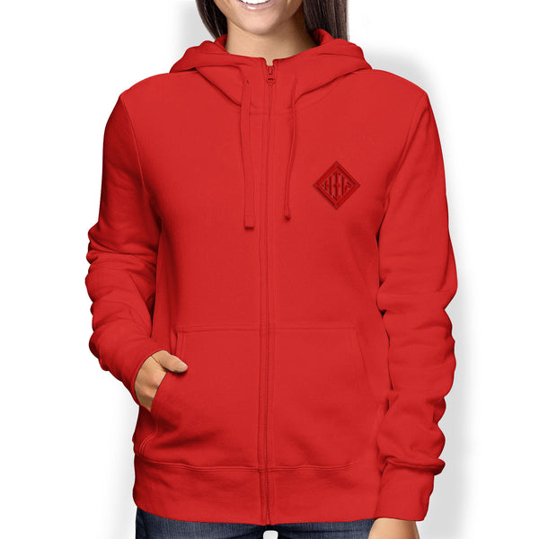 Ladies Hoodie, Full Zip, Red - from Howard Iron Works Printing Museum
