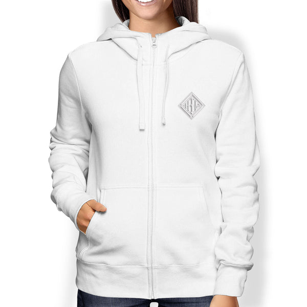 Ladies Hoodie, Full Zip, White - from Howard Iron Works Printing Museum