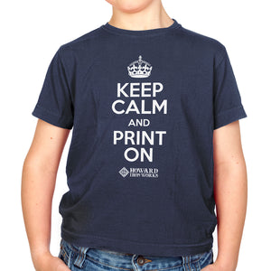 Youth T-shirt, Keep Calm, Navy - from Howard Iron Works Printing Museum