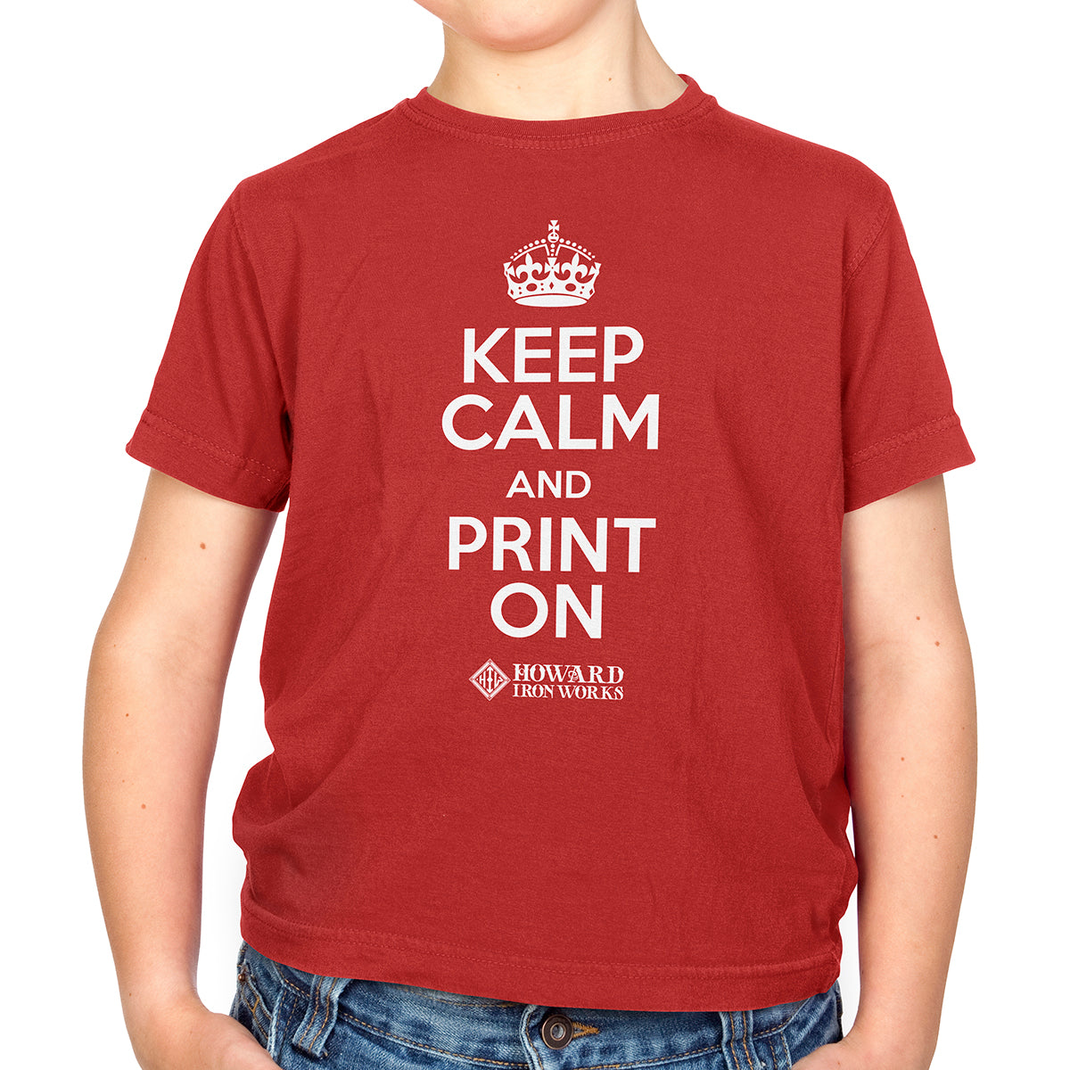 Youth T-shirt, Keep Calm, Red - from Howard Iron Works Printing Museum