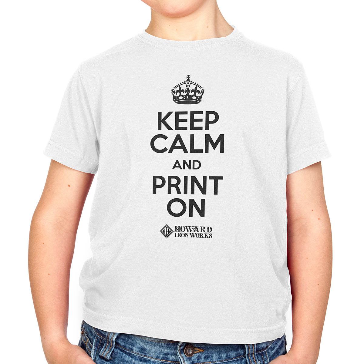 Youth T-shirt, Keep Calm, White - from Howard Iron Works Printing Museum