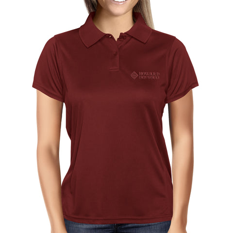 Ladies Polo Shirt, Short Sleeve, Maroon - from Howard Iron Works Printing Museum