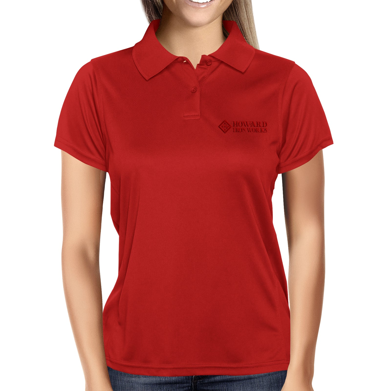 Ladies Polo Shirt, Short Sleeve, Red - from Howard Iron Works Printing Museum