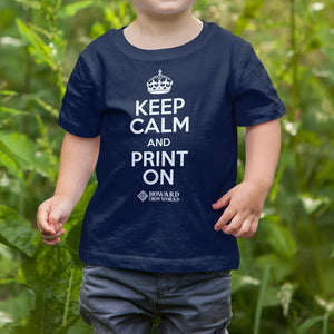 Toddler T-shirt, Keep Calm, Navy - from Howard Iron Works Printing Museum