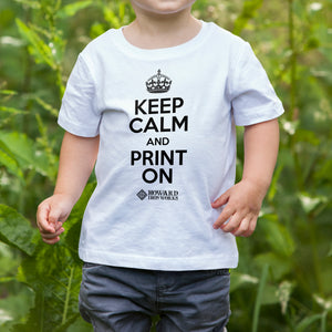 Toddler T-shirt, Keep Calm, White - from Howard Iron Works Printing Museum