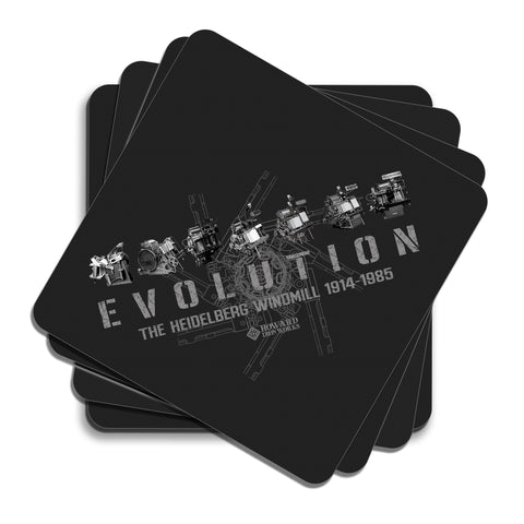 Howard Iron Works Printing Museum, Set of 4 Coasters, Cork Backing, Evolution of Heidelberg T Platen, Black