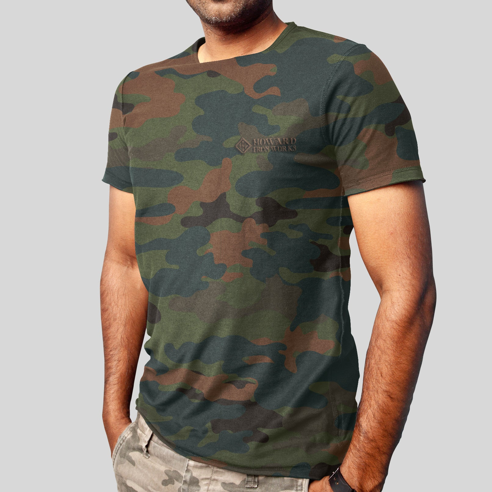 Men's T-Shirt, Short Sleeve, Green Camo - from Howard Iron Works Printing Museum