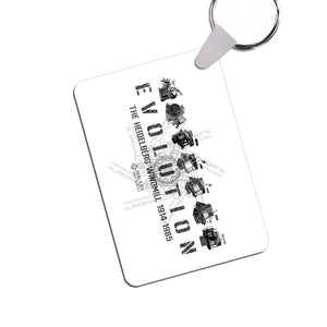 Keychain - Evolution design - white and black - from Howard Iron Works Printing Museum