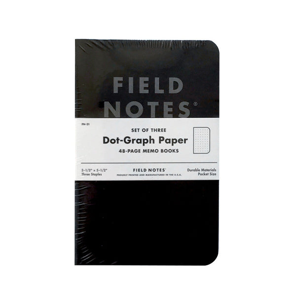 Field Notes - Pitch Black Dot-Graph Paper 3 Pack