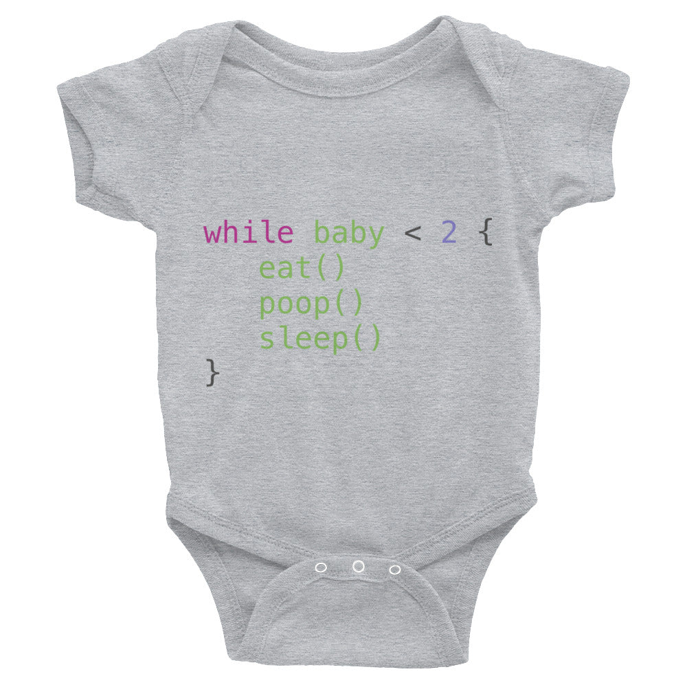 While Infantile Programming Baby Onesie - Coder Swag