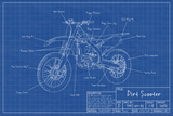 """Dirt Scooter Blueprint"" - 20x30in Poster"