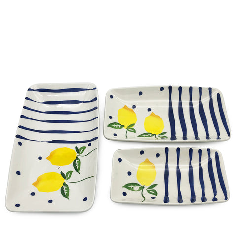 Blue Lemonade Serving Dish-Set of 3
