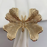 Luxurious Gold Butterfly Napkin Rings Set of 6