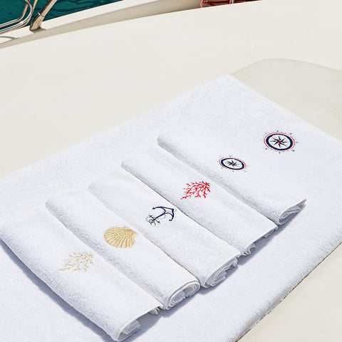 Embroidery Hand Towel Gold Coral