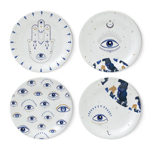 Blue Eye Plate Set-24k Gold