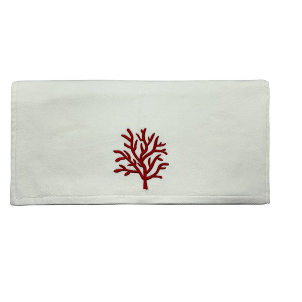 Luxe Velvet Hand Towel - Red Coral
