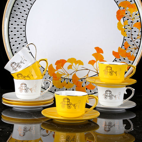 Crafted from fine bone china, these opulent Amber Horse Coffee Cups is a charming set to host your loved ones.