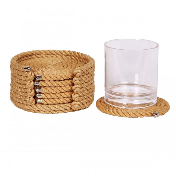 Nautical Rope Coaster Set-Beige