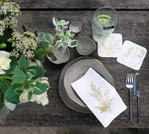 Golden Botanics Linen Napkin Set