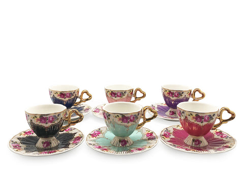 Floral Coffee Cups - Set of 6