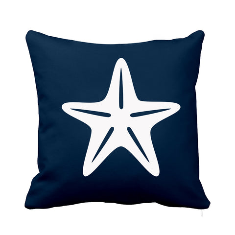 Sea Star Cushion Blue and White