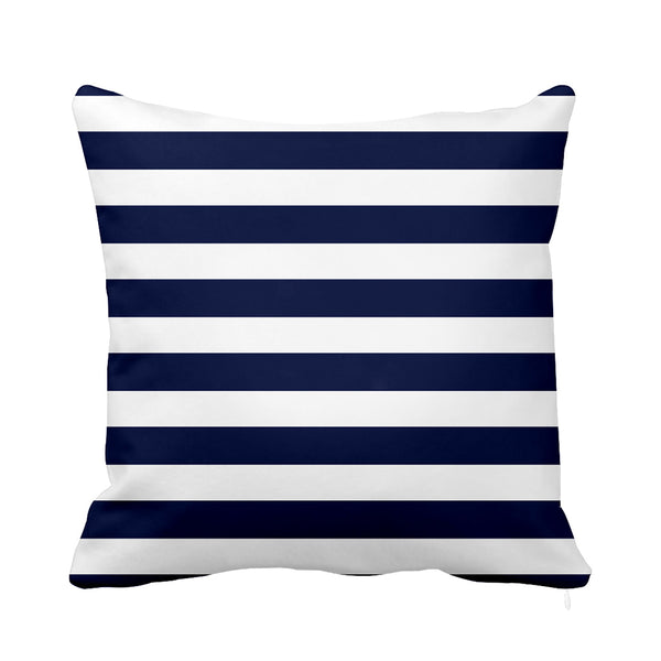 Marine stripe cushion blue white