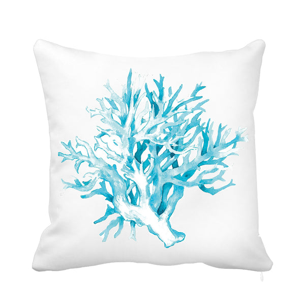 Soft Coral Cushion Blue and White