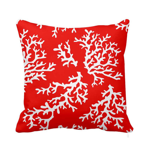 Deep Coral Cushion White and Red