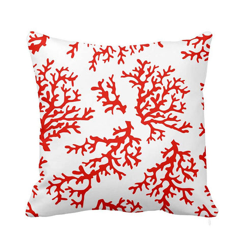 Fresh Coral Cushion White and Red