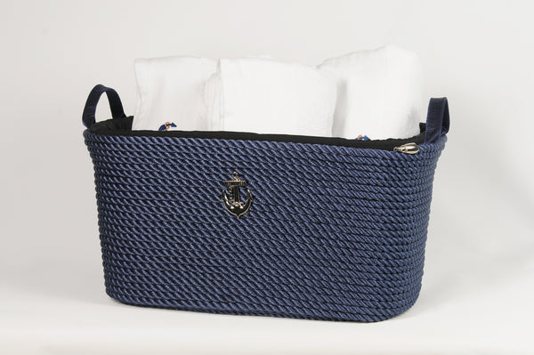 Nautical Rope Big Basket-Blue