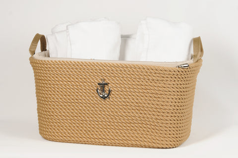 Nautical Rope Big Basket-Beige