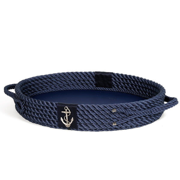 Nautical Leather Tray Blue