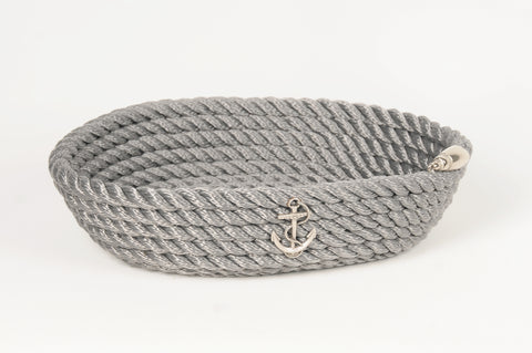 Nautical Rope Oval Basket-Silver