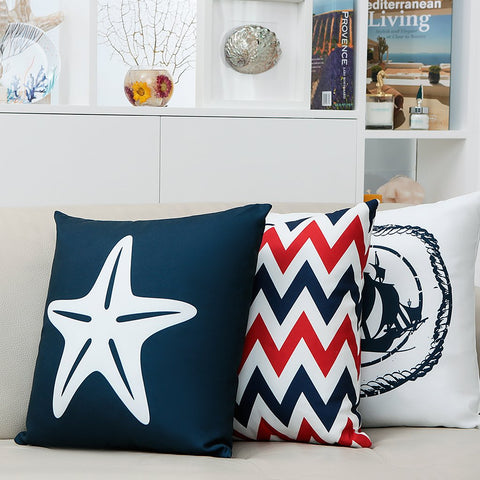 Flaunting a zigzag pattern inspired by the Mediterranean waves, our signature Aquatic cushion adds a vibrant touch to any living space, indoors, and outdoors. The cushion cover has a very soft high-quality fabric, is gentle on the skin, and has print on both sides. It is also stain-resistant and can be washed in a washing machine. Features an invisible zip.
