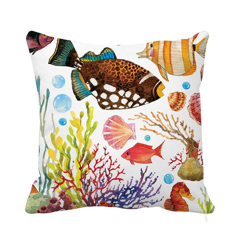 Tap into a colorful, underwater world with this lovely cushion. Inspired by the rich fauna of the Mediterranean, this cushion adds a playful, coastal touch to any living space, indoors and outdoors. The cushion cover has a very soft high-quality fabric, is gentle on the skin, and has print on both sides. It is also stain-resistant and can be washed in a washing machine. Features an invisible zip.