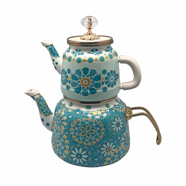 A strong part of the cultural tradition, hot tea has brought family and friends together for hundreds of years. Serve and brew your tea with or simply add to your home decor with this lovely, stylish, and quaint enamel teapot set. Ideal especially for Turkish tea, you can use the top pot for serving tea and the bottom for boiling water. The handle is protected by a silicone cover preventing it from getting hot.