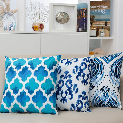 Boasting a beautiful design, these blue hues bring Cote D'azur to your home. Stylish and elegant, it is a perfect addition to any room in your house as well as your balcony, garden, outdoors, and poolsides.  The cushion cover has a very soft high-quality fabric, gentle on the skin, and has print on both sides. It is also stain-resistant and can be washed in a washing machine. Features an invisible zip.