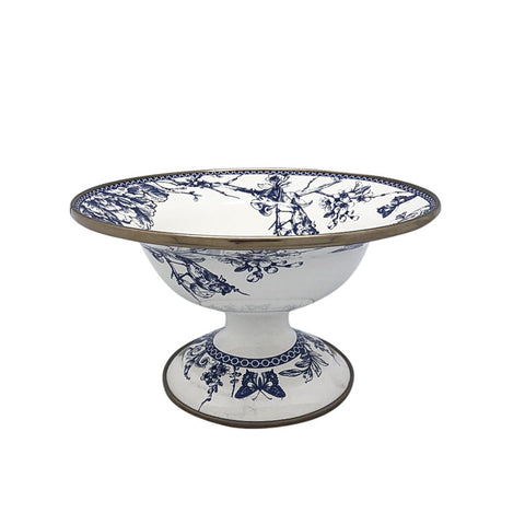 Ideal for serving your favorite dish, snacks, or as a sugar holder this timeless blue and white enamel bowl with gold color finishings adds an elegant touch to your tableware. Style it with the matching teapot set, cake stand, cookie stand, and serving plate to create your own set.