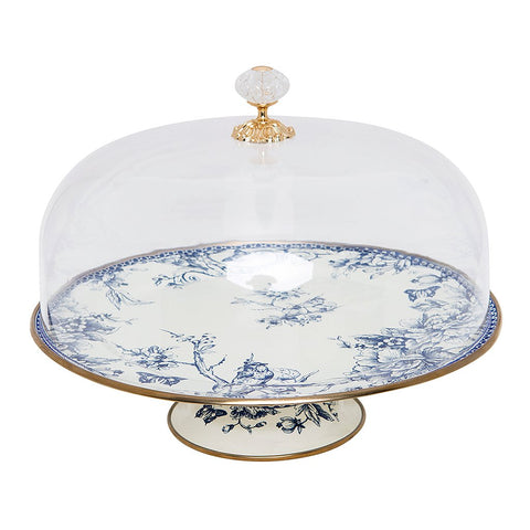 durable enamel cake stand with cover is ideal for serving delicious cakes at your gatherings. Style it with the matching teapot, cookie stand, canister, bowls, and jars to custom make your unique set.