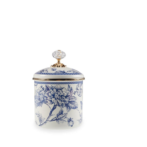 A decorative option for storing and serving sugar, chocolate, sweets, and other food. Timeless blue and white style. Elegant craftsmanship with crystal and gold-colored lid.