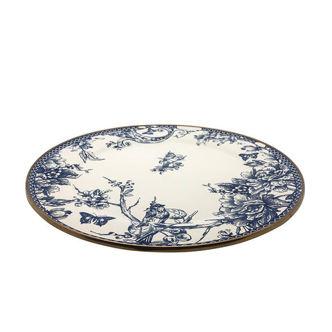Ideal for showcasing cookies, cakes, cupcakes, and your favorite dish, this timeless blue and white serving plate with gold color finishings adds an elegant touch to your tableware. Style it with the matching teapot set, cake stand, cookie stand, and sugar holder to create your own set.