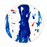 Designer Dinner Plate Set of 4 Blue Art