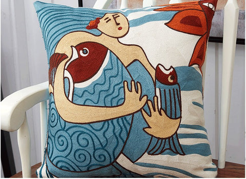Limited Edition Picasso Cushion Cover- Aqua